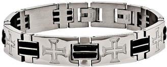 FINE JEWELRY Mens Stainless Steel & Black Rubber Cross Adjustable Chain Bracelet