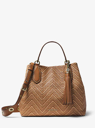 Michael Kors Brooklyn Large Woven Leather Satchel