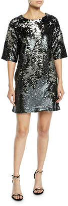 J Brand Lily Sequin Short-Sleeve Shift Dress