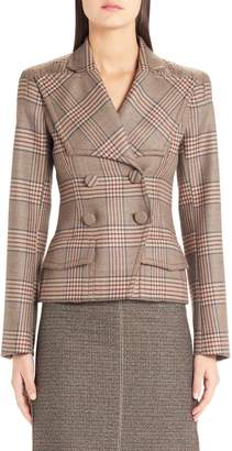 Fendi Checked Double Breasted Wool Jacket