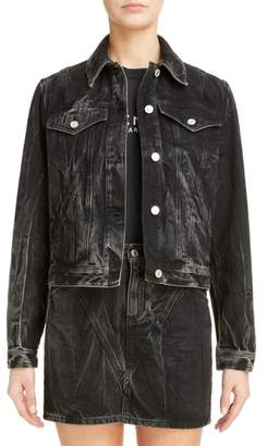 Givenchy Grommet Logo Marble Wash Denim Jacket