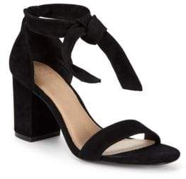 Suede Tie-Strap Block Heels