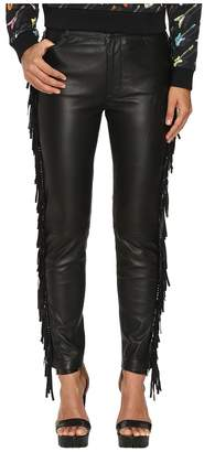 Jeremy Scott Fringed Leather Pants Women's Casual Pants