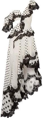 Zimmermann Rife Dally Asymmetric Lace-trimmed Devoré-chiffon Midi Dress - Off-white