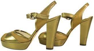 Sonia Rykiel Authentic Sonya Rykiel Bronze Gold Peep Toe Heel Sandals With Mesh Panels - Sz37.5