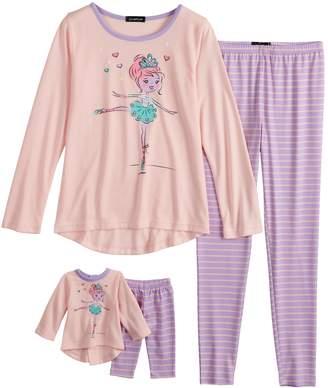 Cuddl Duds Girls 4-10 Top & Bottoms Pajama Set with Doll Pajama Set