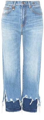 R 13 'Camile' layered frayed cuff jeans