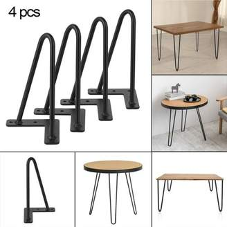 Sunrain 4PCS/Set 8 Inch 10mm Solid Iron Vintage Sturdy Coffee Table Hairpin Legs Bars Table Desk Bracket Furniture Accessaries Black
