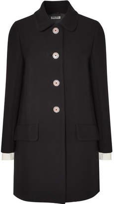Miu Miu Embellished Crepe Coat - Black