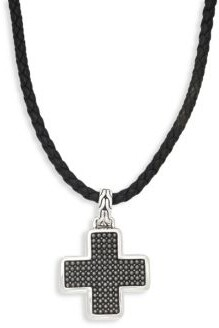 John Hardy Leather & Sterling Silver Cross Pendant Necklace