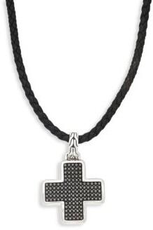John Hardy Leather & Sterling Silver Cross Pendant Necklace