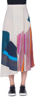 Akris Abstract-Print Asymmetric Midi Skirt