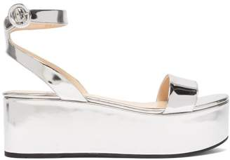 53e00797f801e Prada Platform Metallic Leather Sandals - Womens - Silver