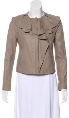 Diane von Furstenberg Ruffle-Accented Leather Jacket
