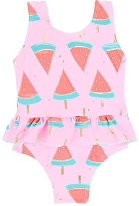 Snapper Rock Kids' Watermelon-Print Peplum One-Piece Swimsuit
