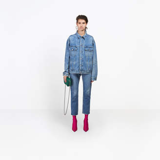 Balenciaga Boxy oversized jacket with embroidered logo at collar and destroyed belt