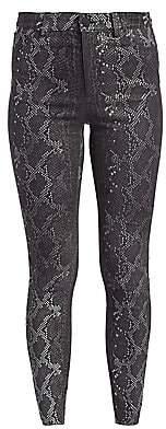 Alice + Olivia Women's Mikah Leather Snakeskin-Print Jeans - Size 0