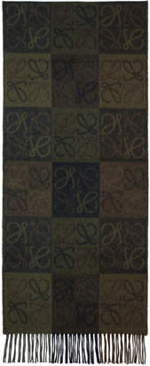 Loewe Green and Brown Logo Anagram Scarf