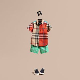 Burberry Short-sleeved Contrast Check Cotton Shirt $130 thestylecure.com