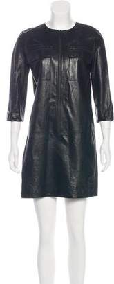 Vince Leather Zip-Up Dress