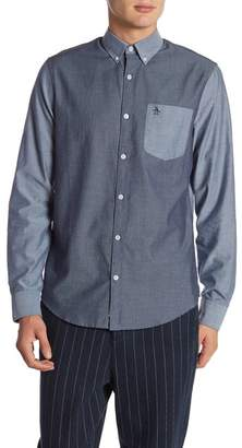 Original Penguin Tonal Contrast Colorblocked Slim Fit Shirt