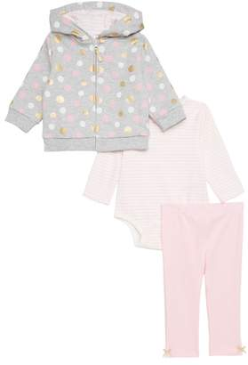 Little Me Dots Bodysuit, Leggings & Full Zip Hoodie Set
