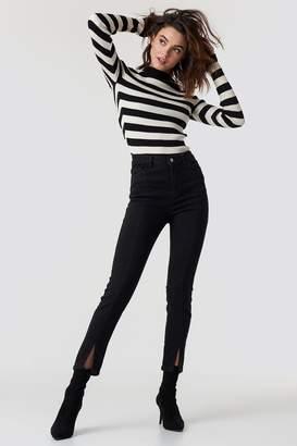 NA-KD Na Kd Highwaist Skinny Front Slit Jeans Black
