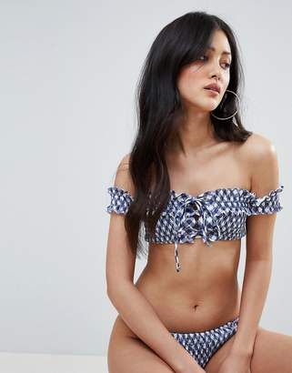 Asos (エイソス) - ASOS DESIGN Gingham Print Shirred Lace Up Bardot Bikini Top
