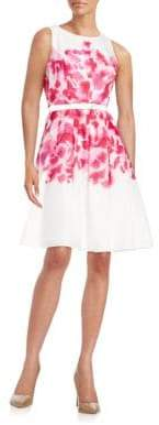 Tommy Hilfiger Belted Floral Fit-and-Flare Dress