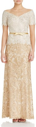 Tadashi Shoji Off-The-Shoulder Embroidered Lace Gown $548 thestylecure.com