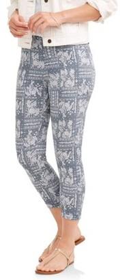 Time and Tru Women's Printed Jegging Capri Pants