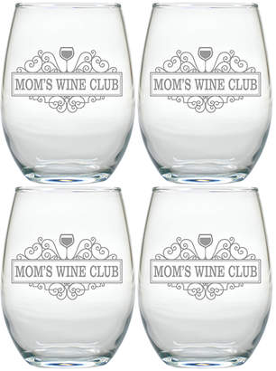 """Engraved Stemless Wine Tumblers """"Mom's Wine Club"""" (Set of 4)"""