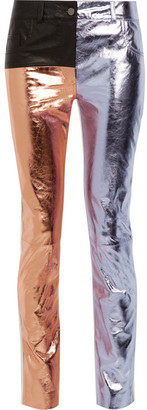 Haider Ackermann - Paneled Metallic And Matte-leather Skinny Pants - Lilac $3,615 thestylecure.com