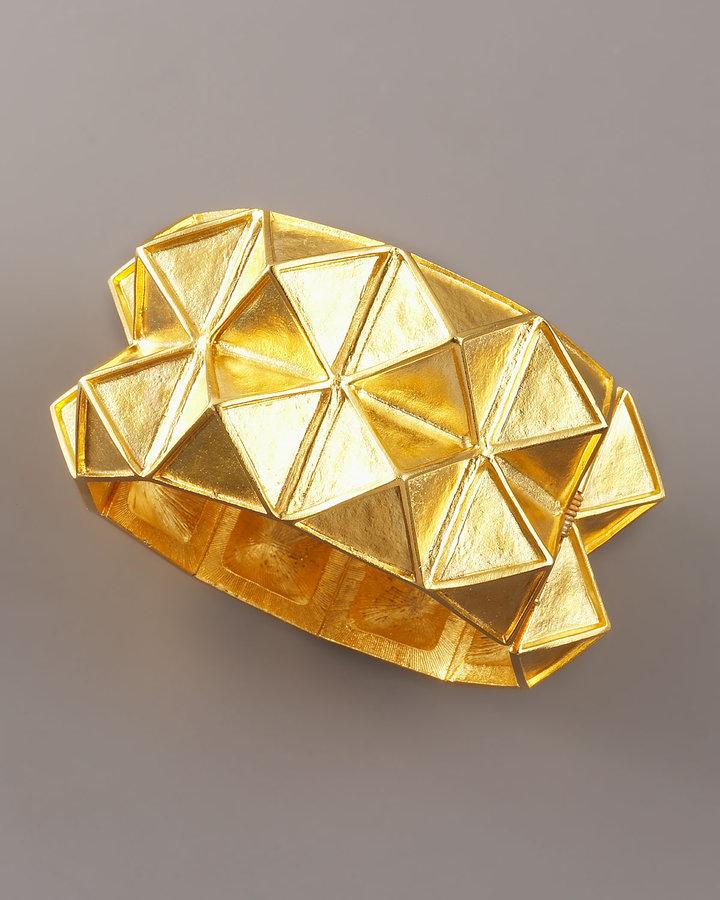 Kenneth Jay Lane Two-Row Pyramid Cuff