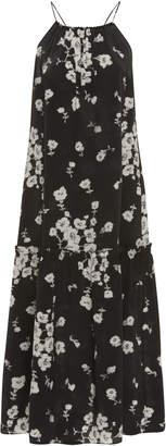 Marie France Van Damme Floral-Print Silk Cocktail Dress