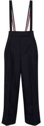 Thom Browne Suspender-Detailed Pleated Wool And Mohair-Blend Wide-Leg Pants