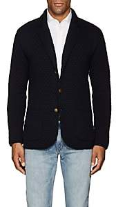 Eleventy Men's Diamond-Knit Virgin Wool Cardigan - Navy