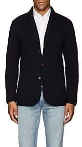 Eleventy Men's Diamond-Knit Virgin Wool Cardigan - Navy