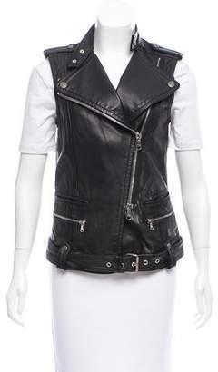 Pierre Balmain Leather Moto Vest