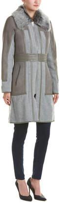 Badgley Mischka Becca Suede-Panel Wool & Cashmere-Blend Coat