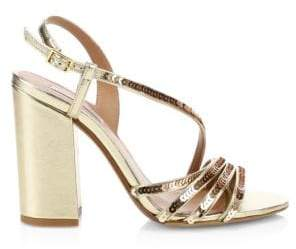 Tabitha Simmons Viola Metallic Block Heel Sandals