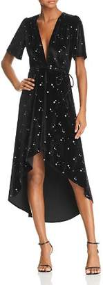 Re:Named Velvet Star-Print Midi Wrap Dress