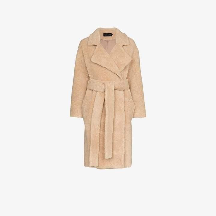 Michael Lo Sordo Fili notch lapel belted faux fur coat
