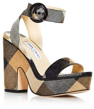 290958185ac3 Jimmy Choo Women s Aimee 125 Gingham Platform Sandals