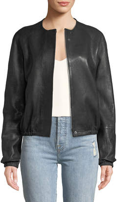 Elizabeth and James Tinley Collarless Leather Bomber Jacket