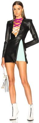 Fausto Puglisi Leather Lace Up Mini Dress