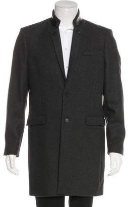 The Kooples Wool & Leather Overcoat