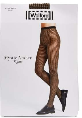 Wolford Mystic Amber Houndstooth Tights - Womens - Black Nude