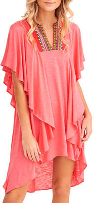 Pitusa Embroidered Ruffle Coverup Dress