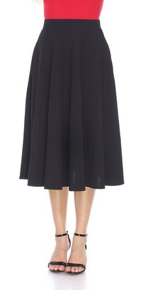 Women's White Mark Solid Midi Skirt $55 thestylecure.com